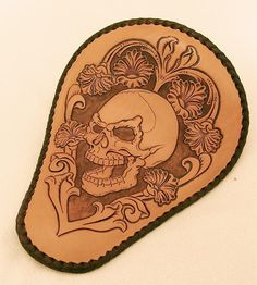 Hand Tooled Leather Motorcycle Seat . Hand Tooled by F8customs