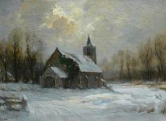 Louis Apol - Kerkje in de sneeuw
