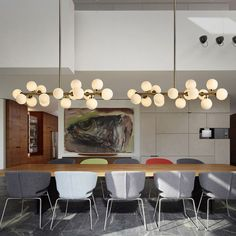 image Dining Table Lighting, Dining Room Light Fixtures, Modern Light Fixtures, Pendant Light Fixtures, Ceiling Fixtures, Light Fittings, Lampshade Chandelier, Chandelier Pendant Lights, Modern Chandelier