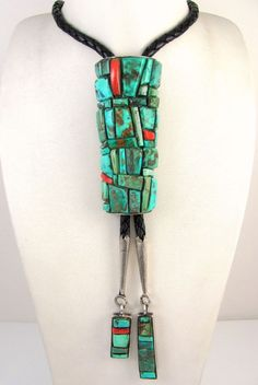 Lrg Vintage Navajo Sterling Silver Turquoise Coral Cobble Stone Inlay Bolo Tie J