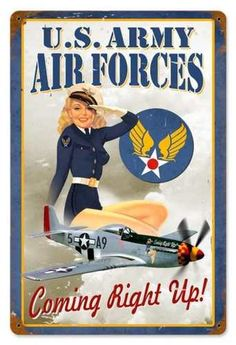 Vintage Air Forces Pin Up Girl Metal Sign adds unique decor to your home or business. Every WWII Military collector would love this unusual gift. All Air Forces Pin Up Girl Tin Signs are pre-drilled and ready to hang.