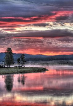 Beautiful pink sky at Yellowstone National Park in Wyoming, USA