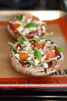 Arugula and Goat Cheese Portobello Pizzas