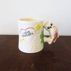 """I love grandpa"" owl mug. So sweet! #vintage #etsy"
