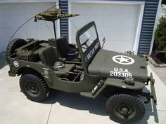 WILLYS JEEP 1948 MILITARY POLICE VEHICLE CJ2A ARMY WW2 TYPE w/ MOUNTED 30 CAL.