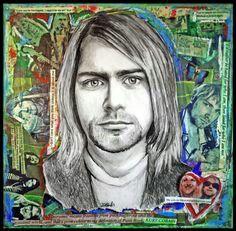 Kurt Cobain Framed Drawing on Mixed Media Collage by paintersam, RIP KURT! Kurt Cobain Art, Nirvana Art, Kahlo Paintings, Newspaper Art, Mixed Media Collage, Collage Art, Drawing Projects, Watercolor Portraits, Art Drawings Sketches