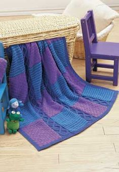 Cable and Blocks Knit Afghan ~ free pattern