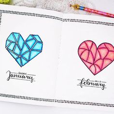And I go back to the amazingly talented @mimitsudoodles for this #monthly page. I just love that icy January heart. ・・・ Goodbye January - hello February 😊💟💞 #bulletjournal #planner #bujo #feb