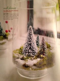 I am making winter terrariums with bottle brush trees, gold animals and fake candles