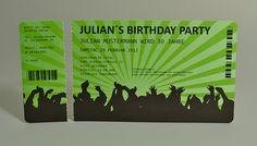 Einladungskarten für Geburtstag  Eintrittskarte Konzertkarte  Ticket  Karte  Einladung