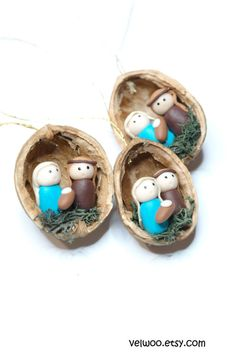 These handmade ornaments are created from walnut shell and polymer clay.  However it can be a perfect gift for any christmas fun! Perfect decoration for