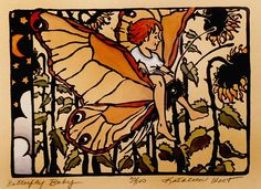 Kathleen West - block print - girl, butterfly, sunflowers