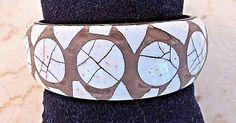 Vintage Eggshell Mosaic and Brass Bangle Bracelet RARE FIND #Unbranded #Bangle