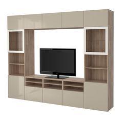 BESTÅ TV storage combination/glass doors - walnut effect light gray/Selsviken high gloss/beige clear glass, drawer runner, soft-closing - IKEA