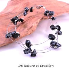 Handmade jewelry snowflake obsidian bracelet by DSNatureetCreation https://www.etsy.com/listing/253382226/handmade-jewelry-snowflake-obsidian