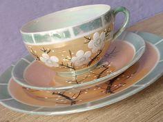 Antique 1930's Takito Japan tea cup trio peach by ShoponSherman,