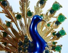 Vintage Boucher Peacock Brooch and Earring Set..