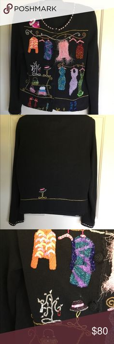 Vintage Michael Simon is like NEW! Beaded sweater with fashion motive. By popular designer of the 90's and early 2000's, Michael Simon. These  sweaters are best hand washed, or put in a tied pillowcase into the machine on delicate. The detail is impeccable and it looks like it has never been worn.  Measurements in lieu of size as size tag is removed. Michael Simon Sweaters Cardigans
