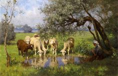 "Oil painting shepherdess young woman with sheep by pond landscape with trees 36"" #Realism"
