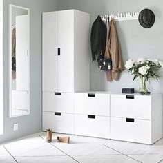 Light-filled entryway with Ikea & # Stuva & # s; storage system Entryway for drop . - Home Decor -DIY - IKEA- Before After Entrada Ikea, Nordli Ikea, Interior Inspiration, Room Inspiration, Home Organization, Home Deco, Bedroom Decor, Ikea Bedroom Storage, Hallway Storage