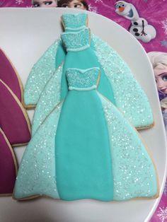 FROZEN Elsa and Anna dress cookies One Dozen by CookiesByHannah