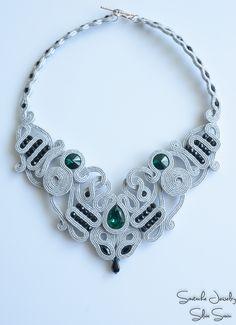 Silver Labyrinth necklace Soutache, Swarovski, Preciosa firepolish