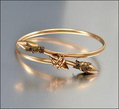 Antique Victorian Bracelet Bangle Gold ByPass Cross by boylerpf, $95.00