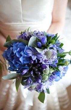 Karen Richard Blue Flowers Bouquetblue Wedding