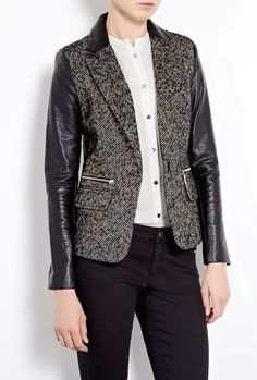 Digital Donegal One Button Leather Sleeve Blazer - Lyst