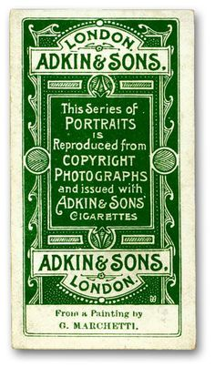 British cigarette card from the early 1900s, via Letterology
