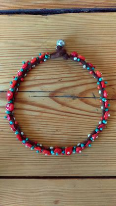 Coral, pearls, turquoise, silver wire and felted Alpaca