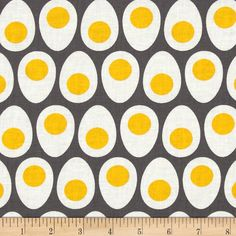 Farm To Fork Eggs Grey from @fabricdotcom  Designed by Lily Gonzales-Creed for Windham Fabrics, this cotton print is perfect for quilting, apparel and home decor accents.  Colors include grey, white and yellow.