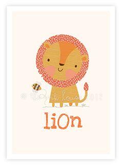 Lion print animal nursery wall art illustration kids children's yellow decor baby room wall nursery jungle safarii