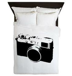 Monochrome Vintage Camera Queen Duvet
