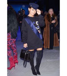 Miroslava Duma wears an Ulyana Sergeenko sweatshirt dress with Gianvito Rossi thigh-high boots // Russia Takes The Gold For Street Style Accessories Source by WhoWhatWear Dresses Women In Russia, Russia Fashion, Miroslava Duma, Sweatshirt Dress, Celebrity Dresses, Petite Fashion, Ulyana Sergeenko, Who What Wear, Passion For Fashion