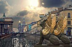 Санкт-Петербург, Россия 俄罗斯圣彼得堡飞狮雕塑