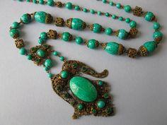Vintage 1930's Art Nouveau Deco Czech Peking Glass Flapper Sautoir Necklace