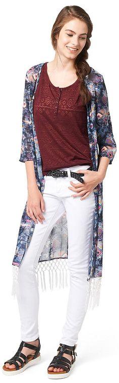 lange Kimono-Jacke mit Ethno-Print für Frauen (gemustert, 3/4 Arm und offen geschnitten) aus transparentem Chiffon, Saum mit dekorativem Fransen-Besatz. Material: 100 % Polyester...