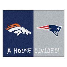 """NFL New England Patriots/Denver Broncos House Divided Rug 33.75""""x42.5"""""""
