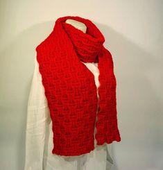 Knit scarf 100% Wool , long knit scarf, knit shawl, unisex scarf, chunky Knit scarf in red, cozy, knit scarves