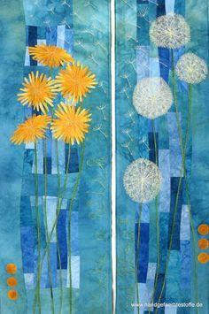 Ideas for contemporary art textile ideas Quilting Projects, Quilting Designs, Dandelion Art, Dandelion Designs, Textiles Sketchbook, Paper Collage Art, Flower Quilts, Cool Art Projects, Art Journal Techniques