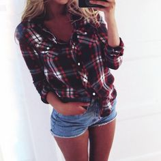 Flannel shirt jean shorts spring outfit very cute yet sexy