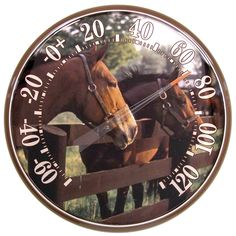 """12.5"""" Horses Indoor or Outdoor Thermometer captures a moment in time with its majestic horse imagery."""