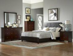 4 Pcs Contemporary Wood Queen Platform Bed Set In Cherry Finish