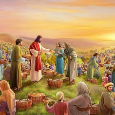 Jesus Feeds the Five Thousand - James Johnson - Medium Life Of Jesus Christ, Jesus Christ Images, Jesus Art, Jesus Is Lord, Bible Images, Bible Pictures, Jesus Pictures Hd, Religious Pictures, Religious Art