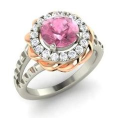 Rings - Dreama - Pink Tourmaline Ring in 14k White Gold with SI Diamond (1.83 ct.tw.)