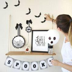 Halloween decoration. Halloween home decor. DIY project. Hand embroidery
