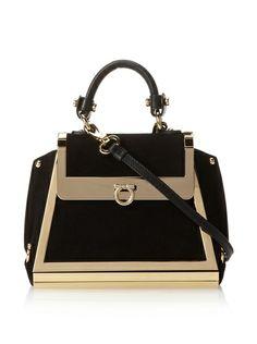 beautiful black and gold Salvatore Ferragamo Sofia Convertible Bag 3bdd84544c95e