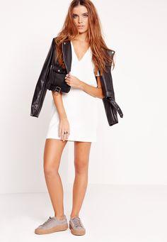 Missguided - Plunge Scuba T-Shirt Dress White