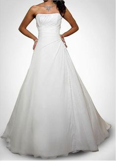 LACE BRIDESMAID PARTY BALL EVENING GOWN IVORY WHITE FORMAL PROM PRETTY CHIFFON A-LINE STRAPLESS WEDDING DRESS